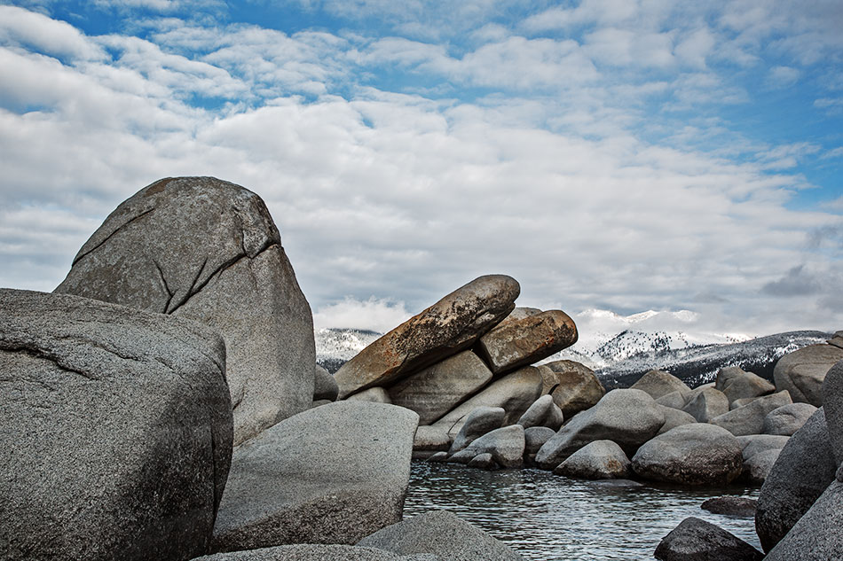 Boulders & Snow Covered Peaks